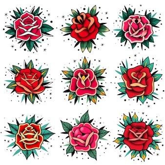 Zestaw róż tatuaż starej szkoły