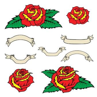 Zestaw róż w stylu starej szkoły z liśćmi na białym tle. wstążki w stylu vintage.