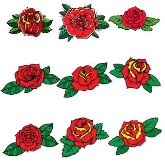 Zestaw róż w stylu tatuażu. element na plakat, kartę, baner, koszulkę. wizerunek