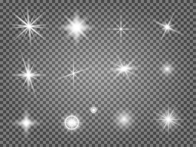 Zestaw rozbłysków gwiazdy. efekt świetlny obiektywu na białym tle