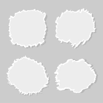 Zestaw rozdartego papieru. papier dziurkowany. zniekształcić kształt. ilustracja wektorowa