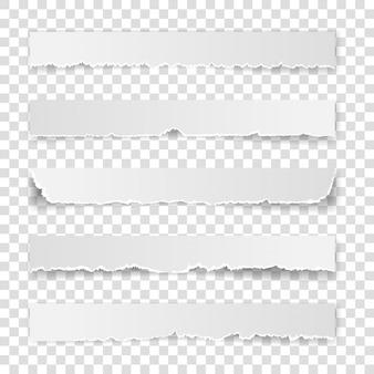 Zestaw rozdartej białej notatki