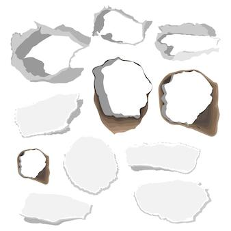 Zestaw rozdartych otworów papieru