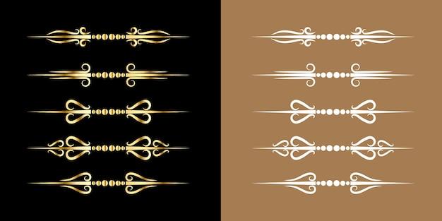 Zestaw rozkwit granicy złoty ornament styl vintage