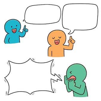 Zestaw rozmawiających ludzi