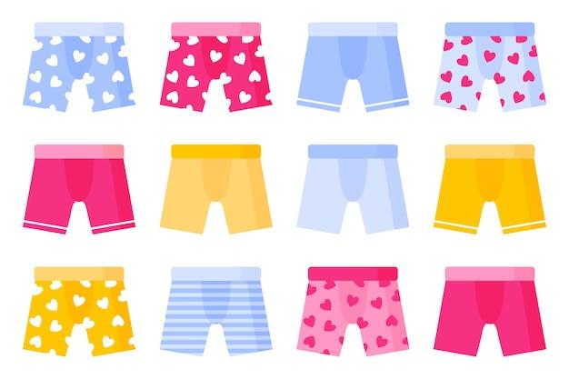 Zestaw różnego rodzaju i koloru męskich kalesonów.