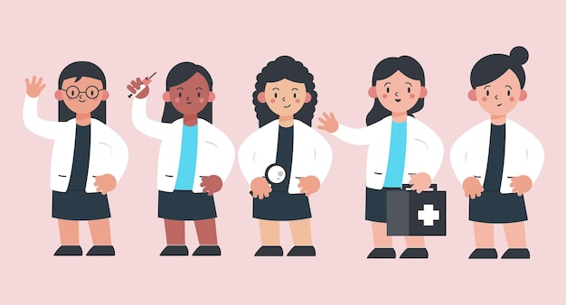 Zestaw różnorodności etnicznej personelu medycznego w postać z kreskówki z różnymi działaniami, ilustracja na białym tle