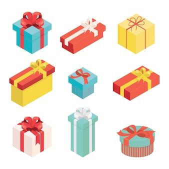 Zestaw różnorodnych prezentów na nowy rok, święta, przyjęcie urodzinowe i inne gratulacje izometryczny