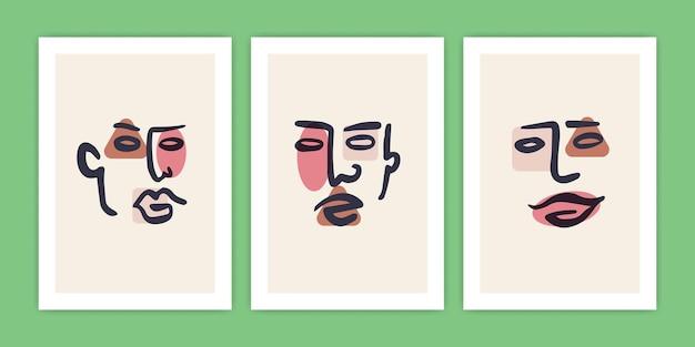 Zestaw różnych abstrakcyjnych ilustracji twarzy
