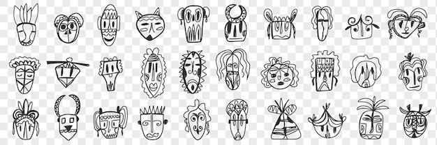 Zestaw różnych afrykańskich starożytnych masek doodle. kolekcja ręcznie rysowane maski na twarz afrykańskich grup etnicznych o różnych wzorach i kształtach na białym tle.