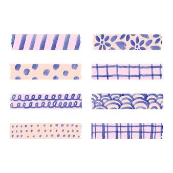 Zestaw różnych akwarelowych taśm washi