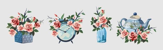 Zestaw różnych artykułów gospodarstwa domowego ozdobionych kwiatami. śliczne małe romantyczne obrazki z kwiatami. budzik, pudełko upominkowe, butelka, imbryk. piękne różowe róże. na białym tle.