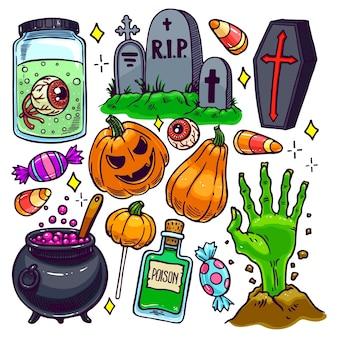Zestaw różnych atrybutów halloween. ręcznie rysowane ilustracji