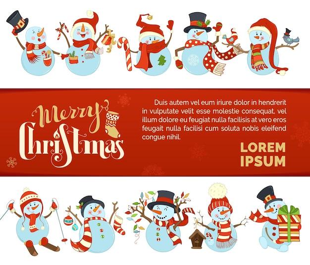 Zestaw różnych bałwanów świątecznych w tle