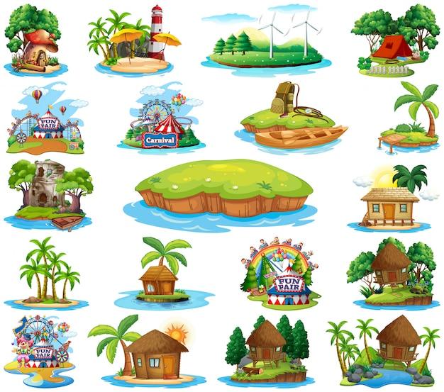 Zestaw różnych bangalows i wyspa plaży motyw i park rozrywki na białym tle