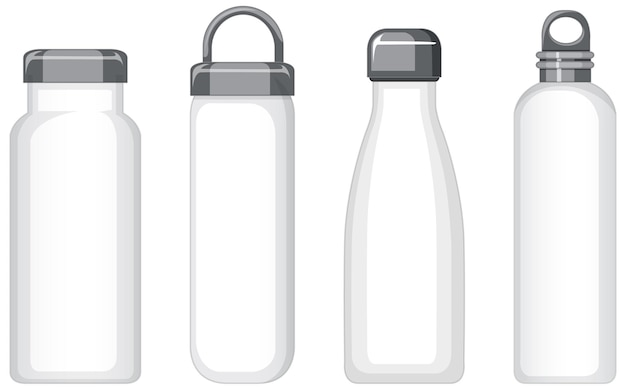 Zestaw różnych białych metalowych butelek na wodę na białym tle