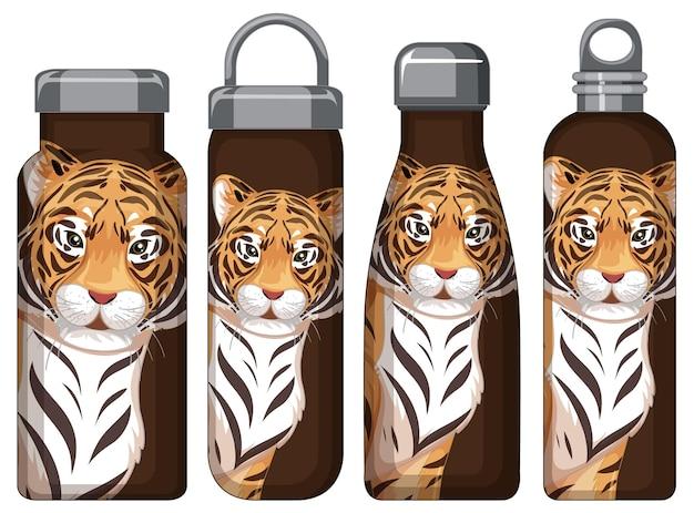 Zestaw różnych brązowych butelek termosu z wzorem tygrysa