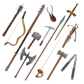 Zestaw różnych broni wektorowe wyizolowane obiekty