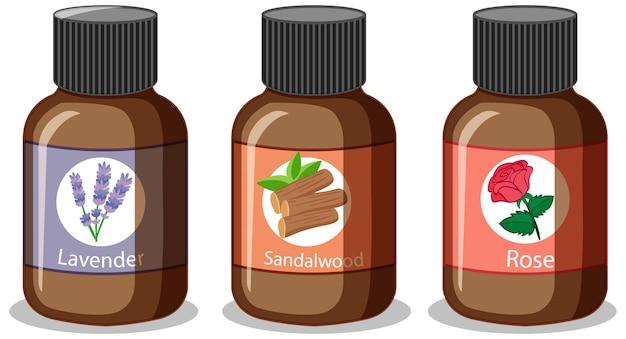 Zestaw różnych butelek olejków eterycznych na białym tle