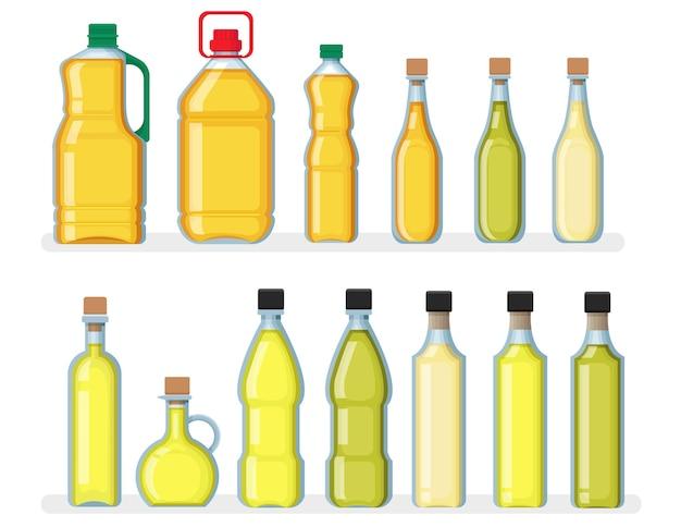 Zestaw różnych butelek oleju roślinnego.