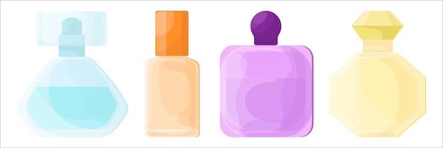 Zestaw różnych butelek perfum. ilustracja