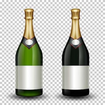 Zestaw różnych butelek szampana