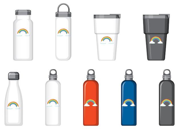 Zestaw różnych butelek termicznych z wzorem tęczy