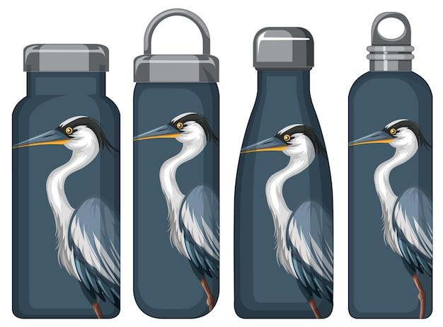 Zestaw różnych butelek termosu z niebieskim wzorem pelikana