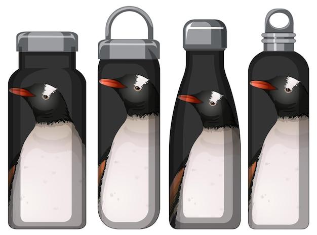 Zestaw różnych butelek termosu z wzorem pingwina