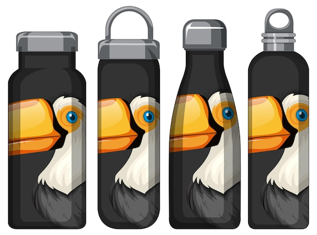 Zestaw różnych butelek termosu z wzorem ptaka tukana