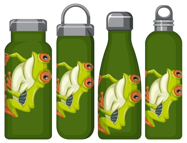 Zestaw różnych butelek termosu z wzorem żaby