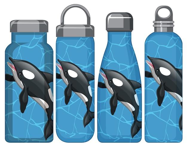 Zestaw różnych butelek termosu ze wzorem wieloryba orki