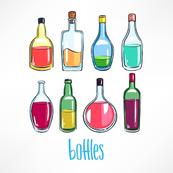 Zestaw różnych butelek z kolorowymi napojami. ręcznie rysowana ilustracja