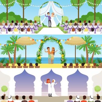 Zestaw różnych ceremonii ślubnych, tradycyjne, egzotyczne tropikalne plaże i muzułmańskie wesela ilustracje wektorowe, projektowanie stron internetowych