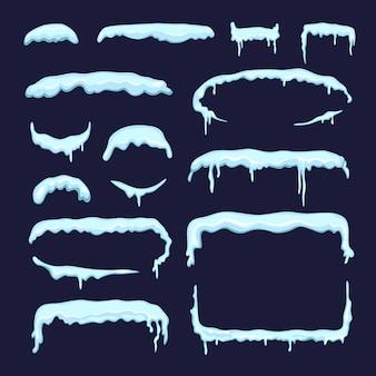Zestaw różnych czapki śniegu zimą i sople. granice i przekładki w stylu kreskówki. projekt osłony śnieżnej i zaspy śnieżnej. ilustracji wektorowych