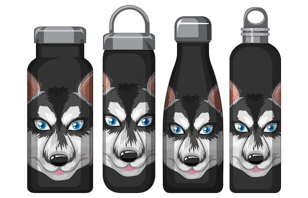 Zestaw różnych czarnych butelek z termosem z wzorem siberian husky
