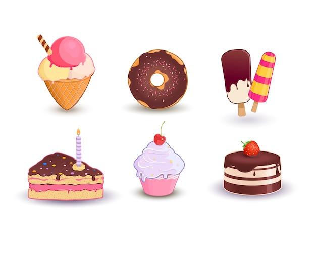 Zestaw różnych deserów. lody, kromka, ciasto, pączek i babeczka
