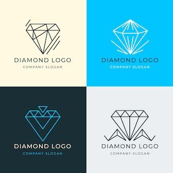 Zestaw różnych diamentowych logo