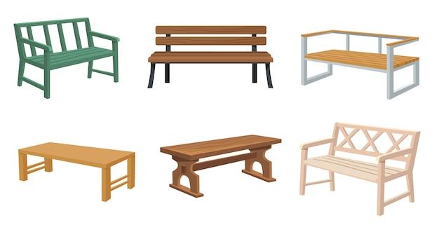 Zestaw różnych drewnianych ławek ogrodowych i miejskich