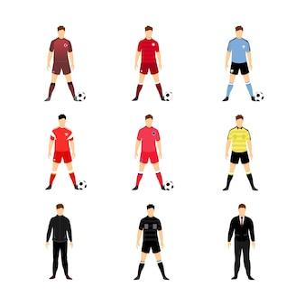 Zestaw różnych drużyn piłkarskich świata munduru