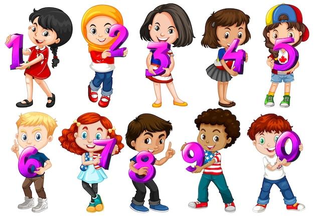 Zestaw Różnych Dzieci Posiadających Numer Matematyczny Premium Wektorów