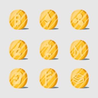 Zestaw różnych elektronicznych symboli pieniężnych kryptowaluty