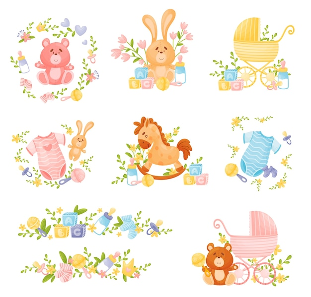 Zestaw różnych elementów dekoracyjnych dla noworodków