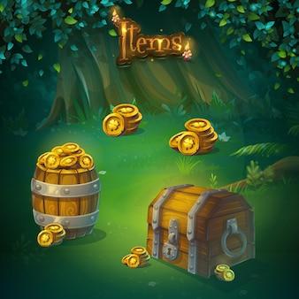 Zestaw różnych elementów interfejsu użytkownika gry. skarb i pieniądze w lesie