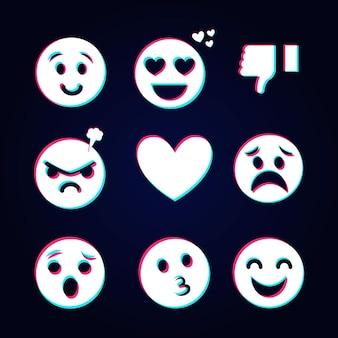 Zestaw różnych emotikonów glitch