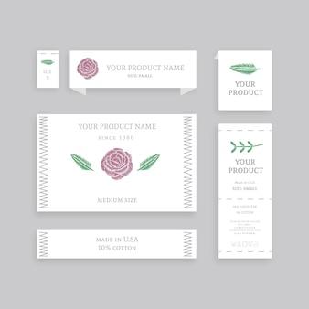 Zestaw różnych etykiet papierowych z nazwą produktu