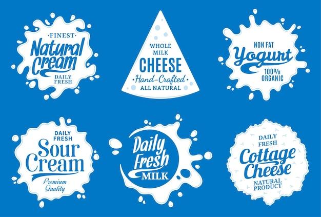 Zestaw różnych etykiet produktów mlecznych