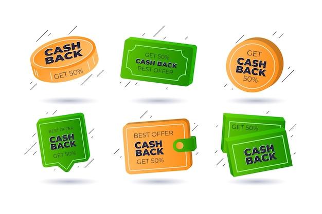 Zestaw różnych etykiet zwrotu gotówki