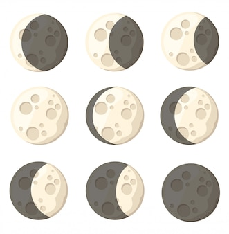 Zestaw różnych faz księżyca obiekt kosmiczny naturalny satelita ilustracji ziemi na białym tle strony internetowej i aplikacji mobilnej