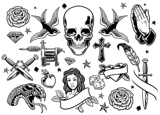 Zestaw różnych flashów do tatuażu